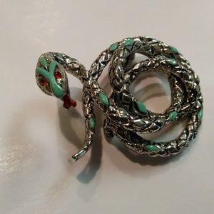 Vintage 60s enamel snake brooch silver tone